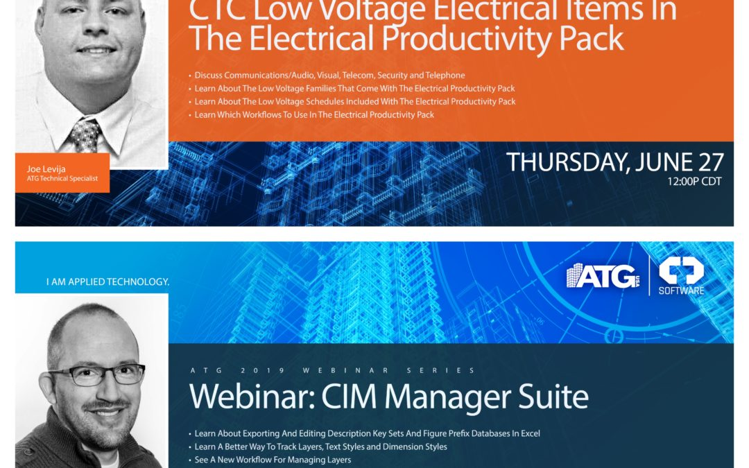ATG Webinars: CTC Low Voltage Electrical Items in the Electrical Productivity Pack and CIM Manager Suite