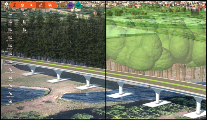 Simplified trees, improvements to the modeling of roads and bridges in InfraWorks update