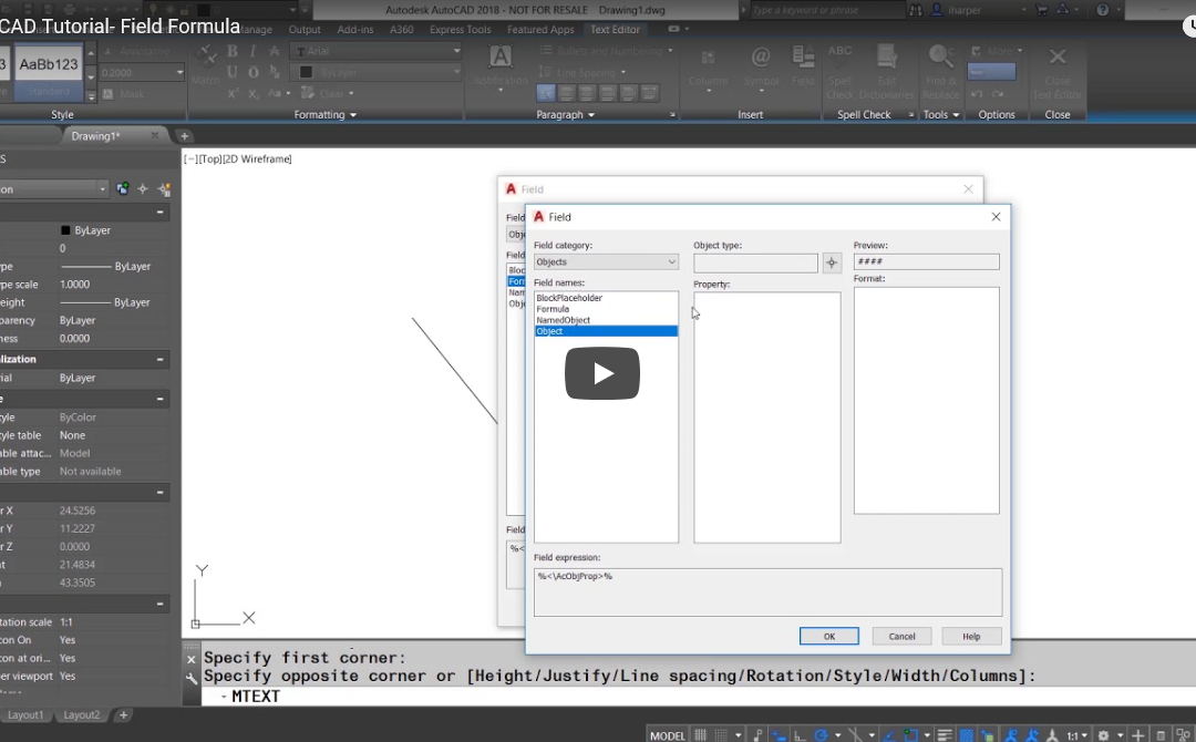 ATG Video Tutorial: AutoCAD Field Command Tricks with Isaac Harper