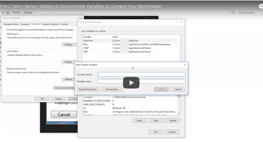 ATG Video Tutorial: Autodesk License Server- Setting Up Environment Variables to Connect Your Workstation