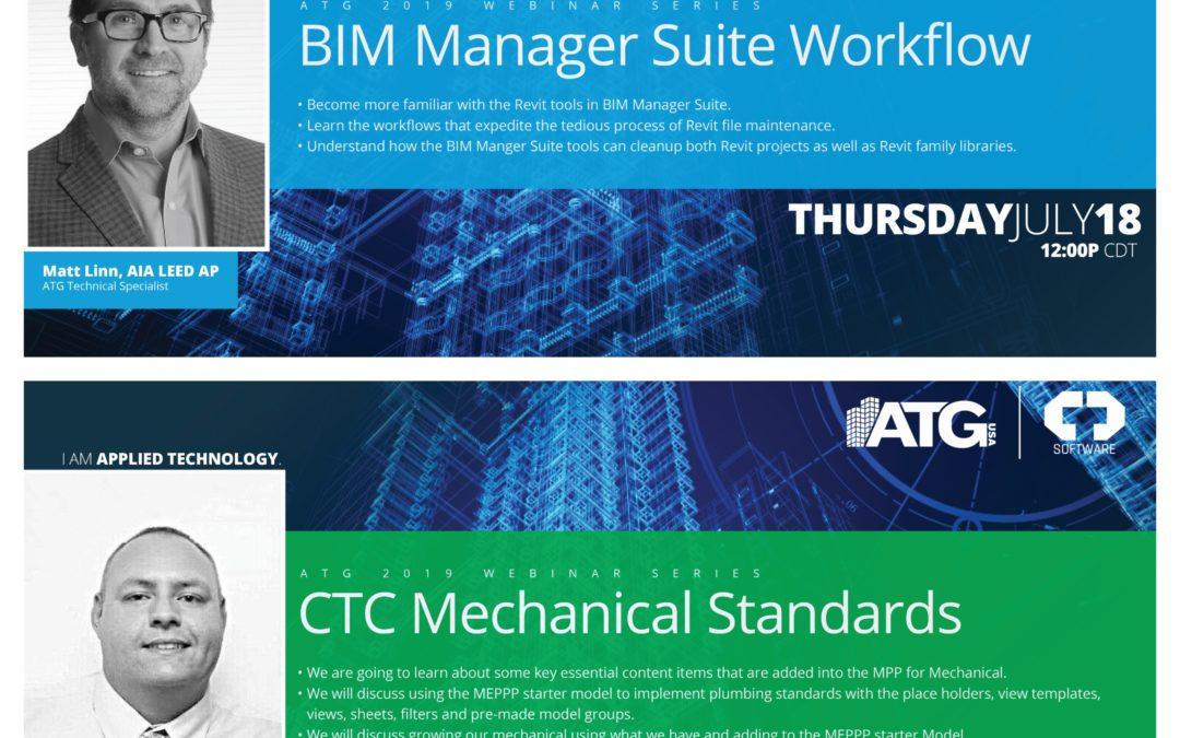 ATG Webinars: BIM Manager Suite Workflow & CTC Mechanical Standards